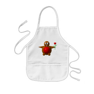 Robin with a rose kids' apron