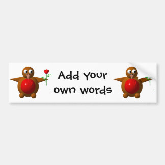 Robin with a rose bumper sticker