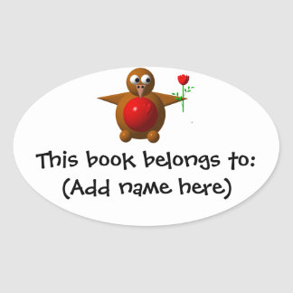 Robin with a rose oval sticker
