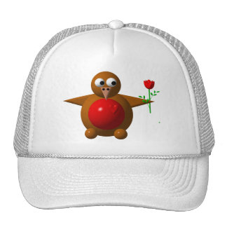 Robin with a rose trucker hat