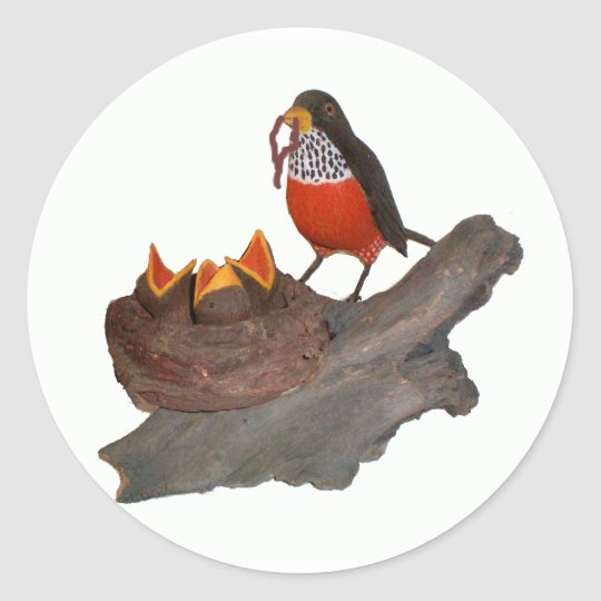 Robin With Babies Classic Round Sticker