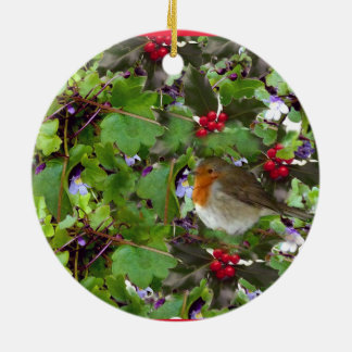 Robin with holly and ivy - christmas decoration
