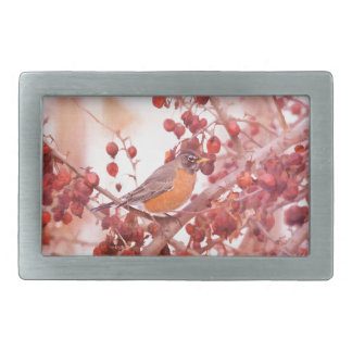 Robin With Red Berries Rectangular Belt Buckle