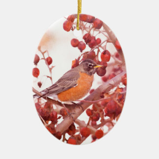 Robin With Red Berries Ceramic Ornament