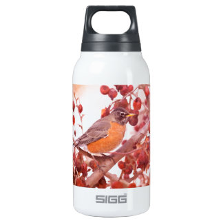 Robin With Red Berries Insulated Water Bottle