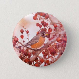 Robin With Red Berries Pinback Button