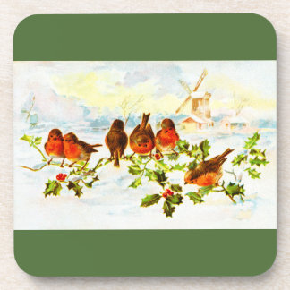 Robins and holly drink coaster