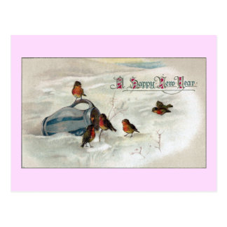 Robins and Pitcher Vintage New Year Postcards