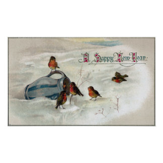 Robins and Pitcher Vintage New Year Print
