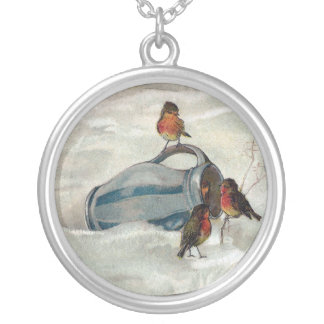 Robins and Pitcher Vintage New Year Round Pendant Necklace