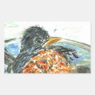 Robin's Bird Bath Rectangular Stickers