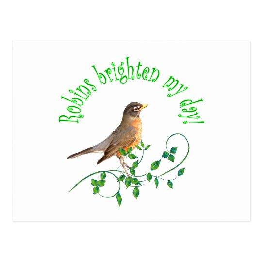 Robins Brighten My Day Postcard