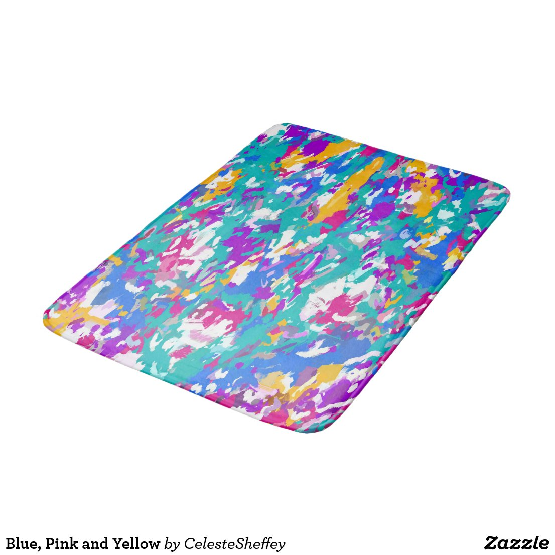 Robin's Egg Blue and Fuchsia Spin Art 3987 Bath Mat