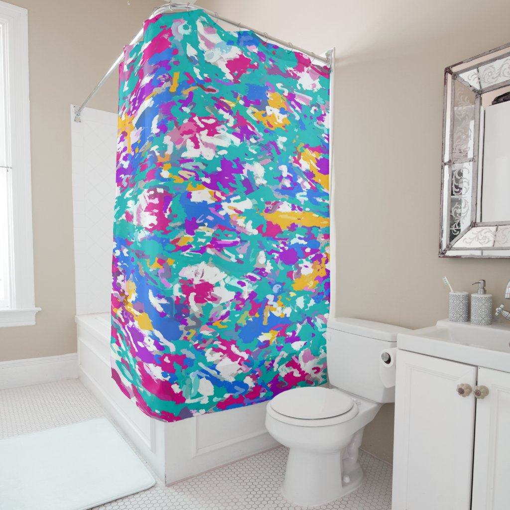 Robin's Egg Blue and Fuchsia Spin Art 3987 Shower Curtain