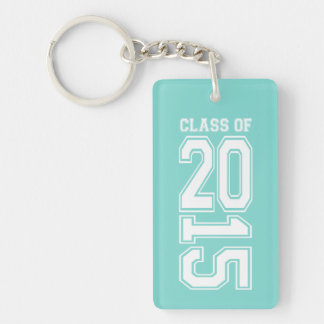 Robins Egg Blue and White Class of 2015 Rectangle Acrylic Keychain