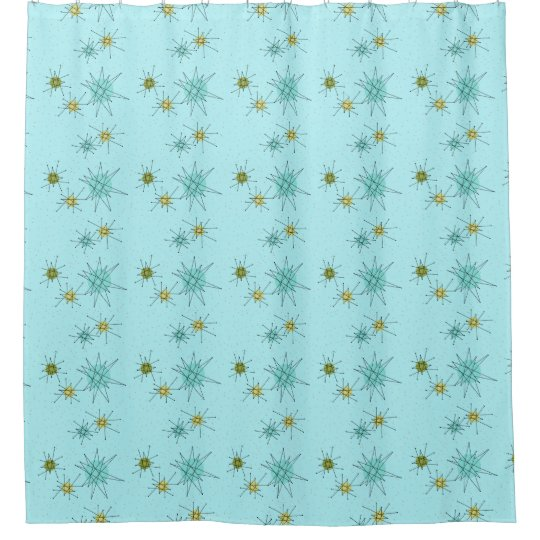 Robins Egg Blue Atomic Starbursts Shower Curtain