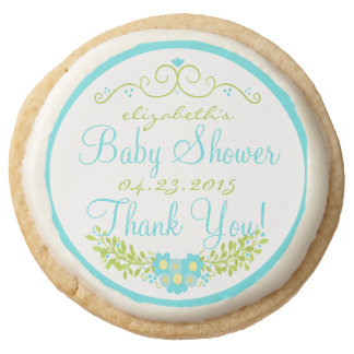 Robin's Egg Blue Baby Shower- Floral Round Shortbread Cookie