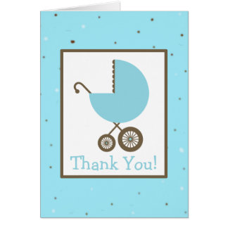 Robin's Egg & Blue Carriage Baby Shower Thank You Card