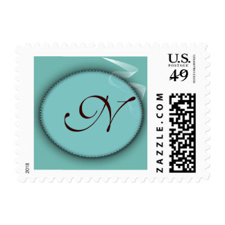 Robins egg blue colored personalized monogram postage