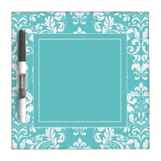 Robin's Egg Blue Damask Dry Erase Dry-Erase Whiteboard