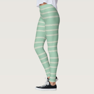 Robins Egg Blue Floral Stripe Leggings