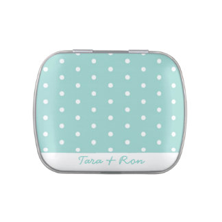Robin's Egg Blue Jewelry Box with polka dots Jelly Belly Candy Tin