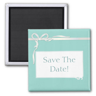 Robin's Egg Blue Jewelry Box with White Ribbon 2 Inch Square Magnet