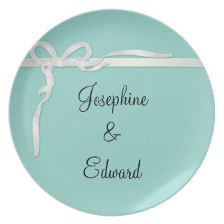 Robin's Egg Blue Jewelry Box with White Ribbon Dinner Plate