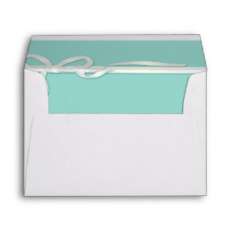 Robin's Egg Blue Jewelry Box with White Ribbon Envelope