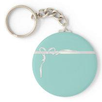 Robin's Egg Blue Jewelry Box with White Ribbon Keychain