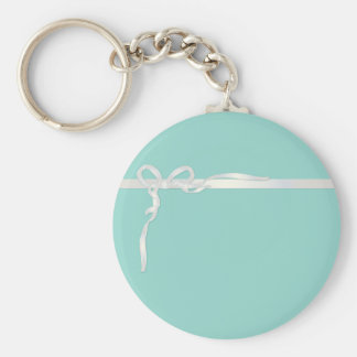 Robin's Egg Blue Jewelry Box with White Ribbon Keychain