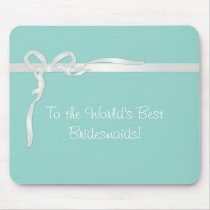 Robin's Egg Blue Jewelry Box with White Ribbon Mouse Pad