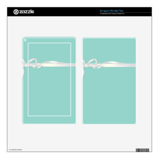 Robin's Egg Blue Jewelry Box with White Ribbon Skin For Kindle Fire