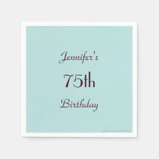 Robins Egg Blue Paper Napkins 75th Birthday Party