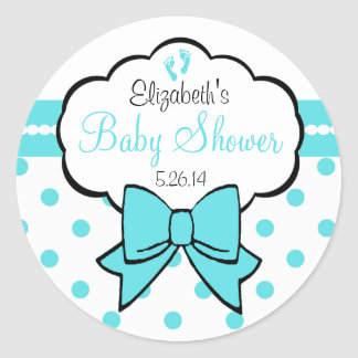 Robins Egg Blue Polka Dots-Baby Shower Classic Round Sticker