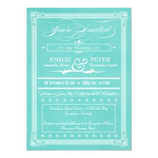Robin's Egg Blue Poster Style Wedding Invitations