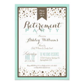 Robins Egg Blue, Taupe Modern Retirement Party 5x7 Paper Invitation Card
