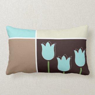 Robins Egg Blue Tulip Geometric Shape Brown Cream Pillows