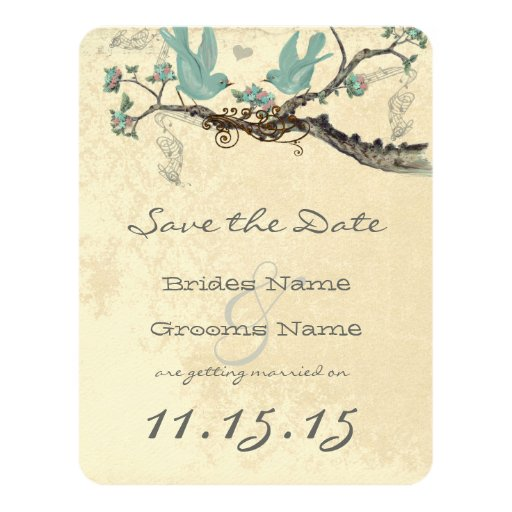 Robin's Egg Blue Vintage Birds Save the Date 4.25x5.5 Paper Invitation Card
