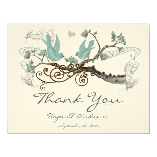 Robin's Egg Blue Vintage Love Birds  Thank You Card
