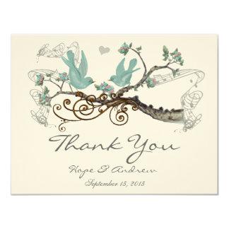 Robin's Egg Blue Vintage Love Birds  Thank You Card