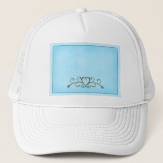 Robins egg blue with gold heart trucker hat