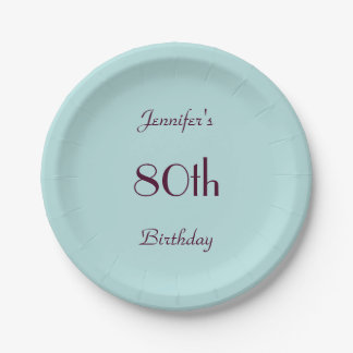 Robin's Egg BluePaper Plates, 80th Birthday Party 7 Inch Paper Plate