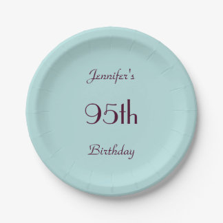 Robin's Egg BluePaper Plates, 95th Birthday Party Paper Plate