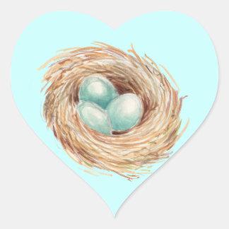 Robin's Egg Nest Blue Watercolor Heart Sticker