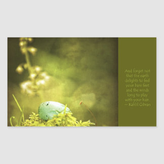 Robin's Egg on Moss with Inspirational Saying Stickers