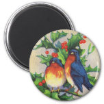 Robins & Holly Christmas 2 Inch Round Magnet