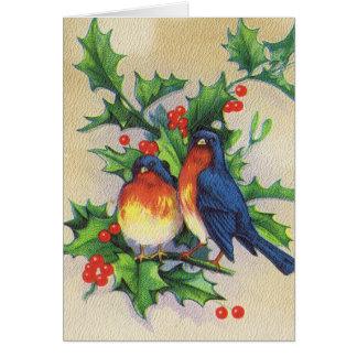 Robins & Holly Christmas Greeting Cards