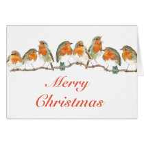 Robins in a row card