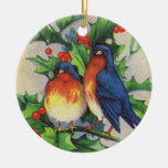 Robins in Holly Ornament